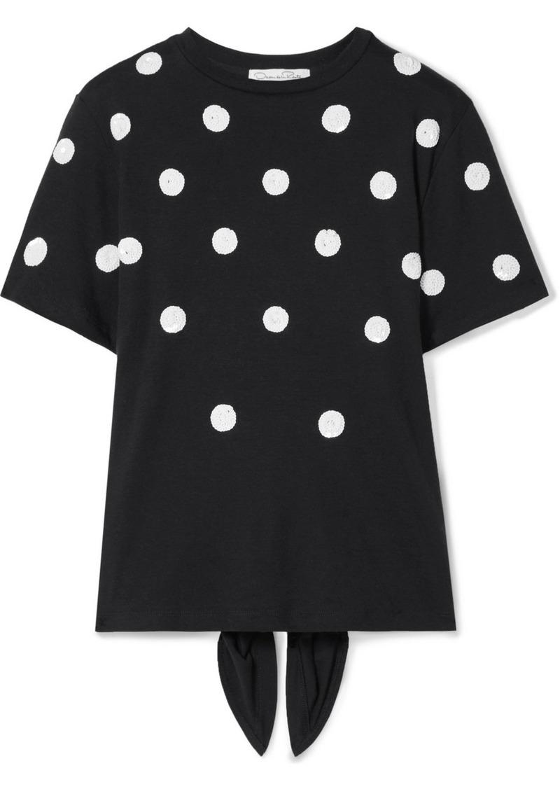Oscar de la Renta Sequin-embellished Modal And Cotton-blend T-shirt