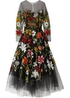 Oscar de la Renta Sequin-embellished Printed Tulle Gown