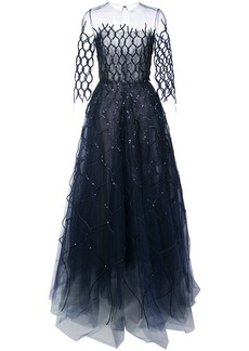 Oscar de la Renta sequin-embroidered fishnet gown