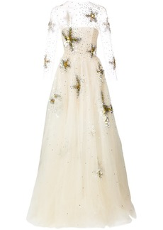 Oscar de la Renta sequin-embroidered starfish gown