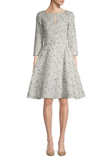 Oscar de la Renta Sequin Silk Fit-&-Flare Dress