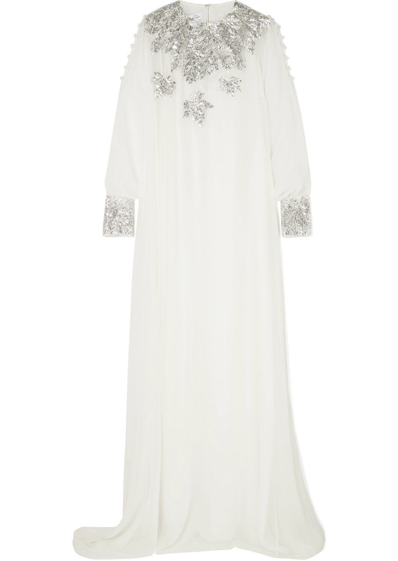 Oscar de la Renta Sequined Silk-chiffon Gown