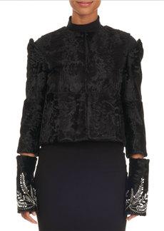 Oscar de la Renta Shearling Fur Bolero Jacket w/ Cutouts & Beaded Trim