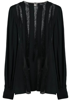 Oscar de la Renta sheer lace stripe blouse