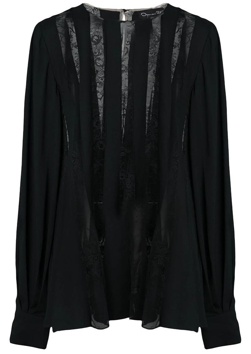 Oscar de la Renta georgette lace blouse