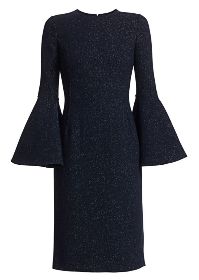 Oscar de la Renta Shimmer Sparkle Wool Bell-Sleeve Dress