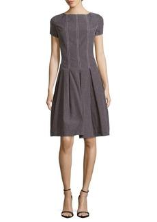 Oscar de la Renta Short-Sleeve Checkered Dress