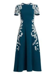 Oscar de la Renta Short Sleeve Embroidered Leaf Wool-Blend Dress