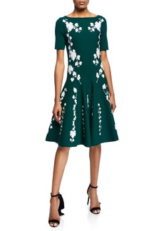 Oscar de la Renta Short-Sleeve Floral Knee-Length Dress