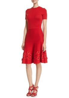Oscar de la Renta Short-Sleeve Jewel-Neck Lace-Hem Knit Dress