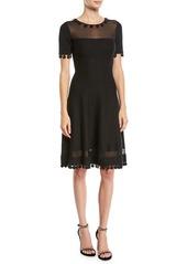 Oscar de la Renta Short-Sleeve Pompom Knit Day Dress w/ Sheer Inserts
