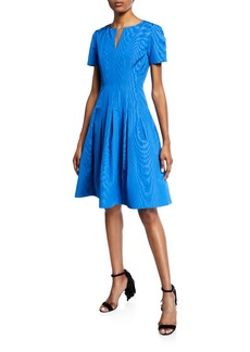 Oscar de la Renta Short-Sleeve Wave Moire Faille Cocktail Dress
