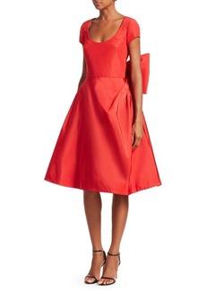 Oscar de la Renta Silk Back Bow Cap-Sleeve Dress