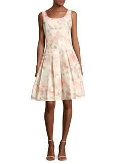 Oscar de la Renta Silk-Blend Box-Pleated Dress