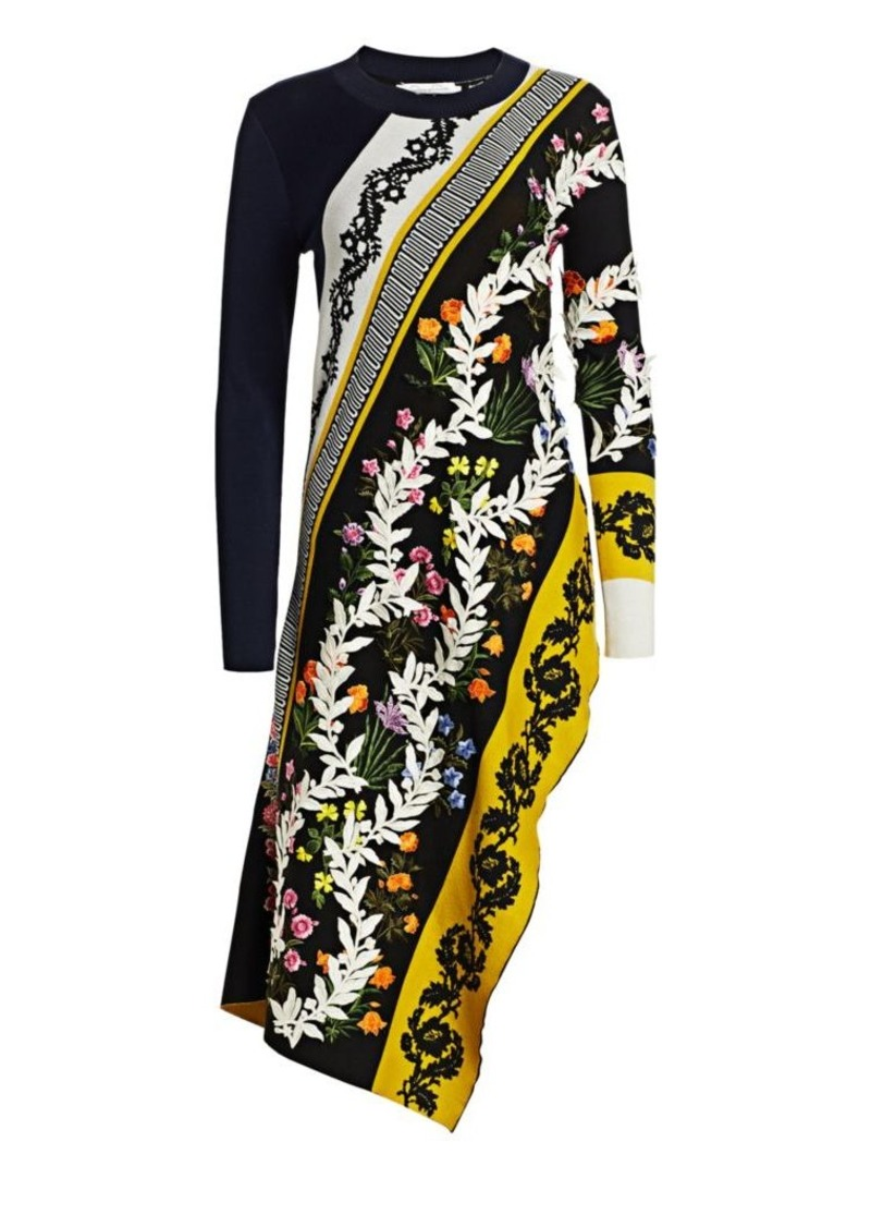 Oscar de la Renta Silk Cotton Embroidered Asymmetric Top