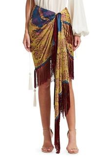 Oscar de la Renta Silk Fringed Floral Wrap Skirt