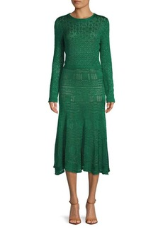 Oscar de la Renta Silk Knit Midi Dress