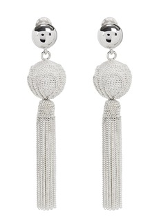 Oscar de la Renta Silver Chain Tassel Earrings