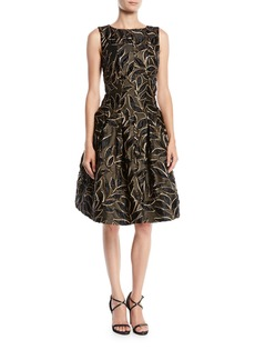 Oscar de la Renta Sleeveless Bateau-Neck Leaf-Embroidered Fit-and-Flare Cocktail Dress with Pockets