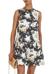 Oscar de la Renta Sleeveless Daisy-Print Drop-Waist Dress