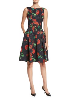 Oscar de la Renta Sleeveless Floral-Jacquard 2-Pocket Fit-and-Flare Dress