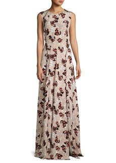 Oscar de la Renta Sleeveless Floral Silk Dress