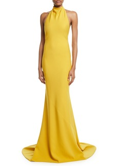 Oscar de la Renta Sleeveless Halter-Neck Ruffled-Back Gown