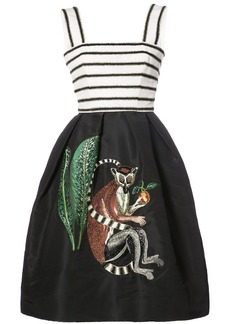 Oscar de la Renta sleeveless monkey embroidered midi dress