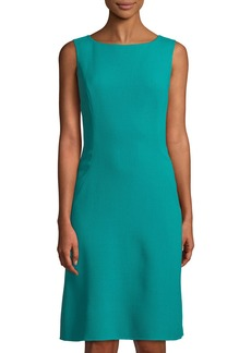 Oscar de la Renta Sleeveless Pleat-Back Wool Boat-Neck Dress