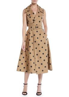 Oscar de la Renta Sleeveless Polka-Dot Twill Tea-Length Dress w/ Wide Belt