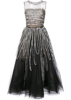 Oscar de la Renta sleeveless sequin embroidered gown