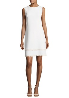 Oscar de la Renta Sleeveless Shift Dress with Scalloped Leather Trim  White