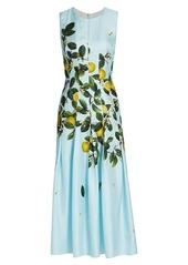 Oscar de la Renta Citrus Primavera Sleeveless Silk Midi Day Dress