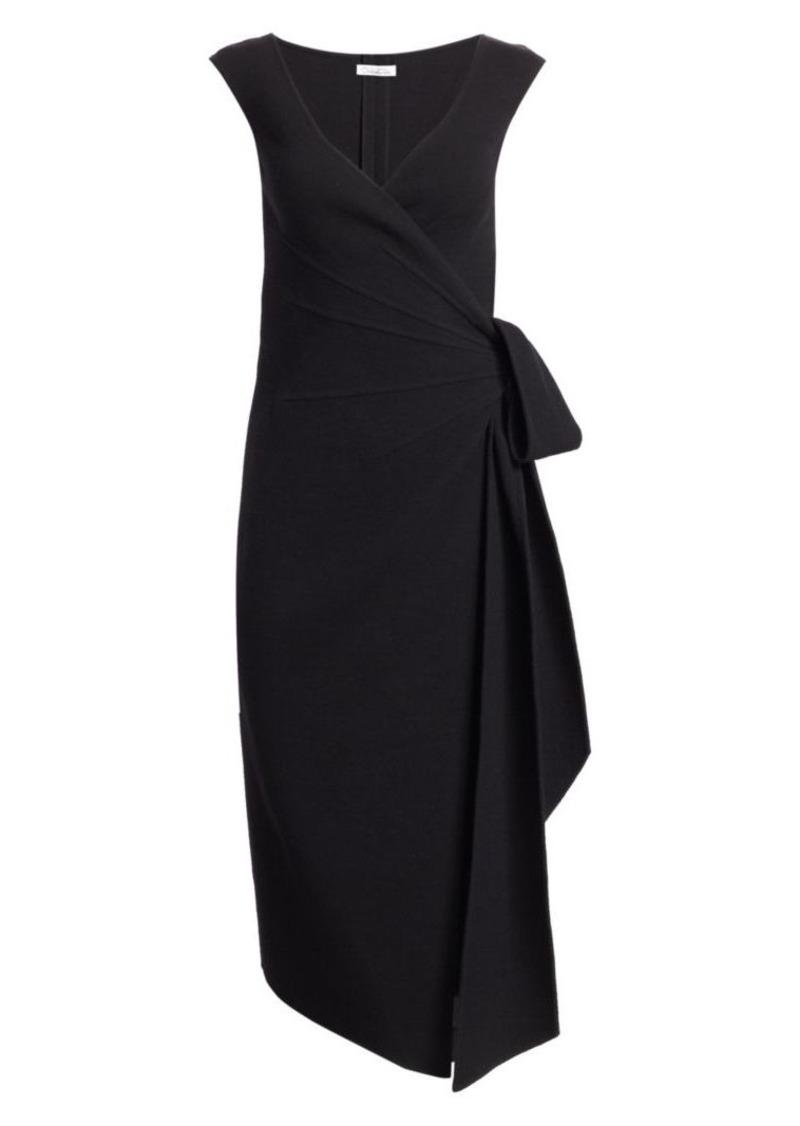 Oscar de la Renta Sleeveless Stretch-Wool Bow Wrap Dress