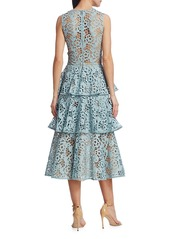 Oscar de la Renta Sleeveless Tiered Eyelet Dress