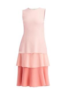 Oscar de la Renta Sleeveless Tiered Ombre Dress