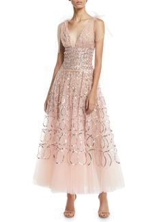 Oscar de la Renta Sleeveless V-Neck Sequin-Loop Embroidered Tulle Tea-Length Cocktail Dress