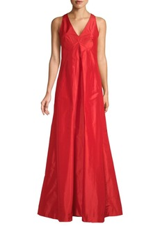 Oscar de la Renta Sleeveless V-Neck Silk Gown