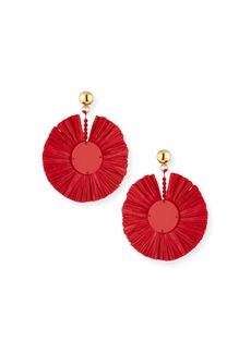 Oscar de la Renta Small Raffia Fringe Clip-On Earrings in Scarlet
