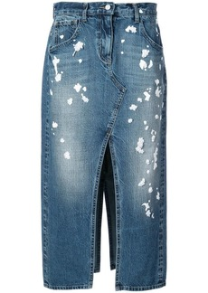 Oscar de la Renta splattered denim midi skirt