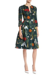 Oscar de la Renta Split-Neck 3/4-Sleeve Fit-and-Flare Floral-Embroidered Knee-Length Day Dress