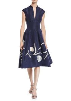 Oscar de la Renta Split-Neck Cap-Sleeve Tulip-Embroidered Silk Faille Dress w/ Pockets