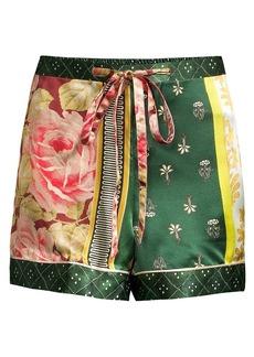 Oscar de la Renta Spruce Floral Patchwork Silk Shorts