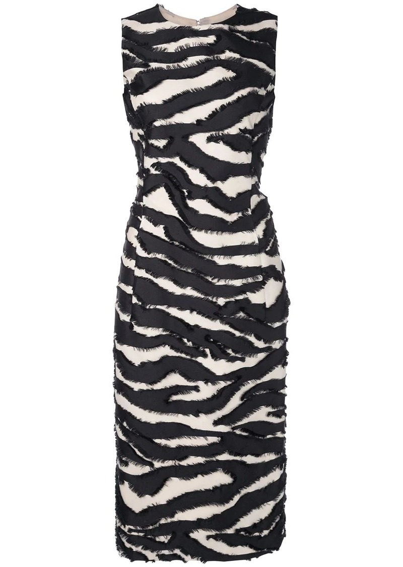 Oscar de la Renta straight-cut dress with faux-fur detailing