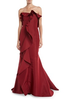 Oscar de la Renta Strapless Cascading-Ruffle Silk Gown