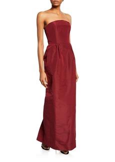 Oscar de la Renta Strapless Column Evening Gown w/ Pockets