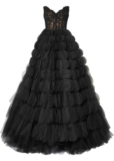 Oscar de la Renta Strapless Corded Lace And Tulle Gown