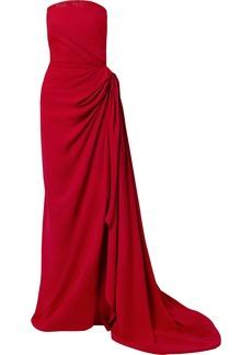 Oscar de la Renta Strapless Draped Embellished Tulle-trimmed Cady Gown