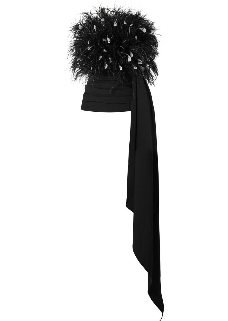 Oscar de la Renta Strapless Draped Feather-embellished Tulle And Ruched Wool-blend Top