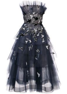 Oscar de la Renta strapless embroidered tiered dress